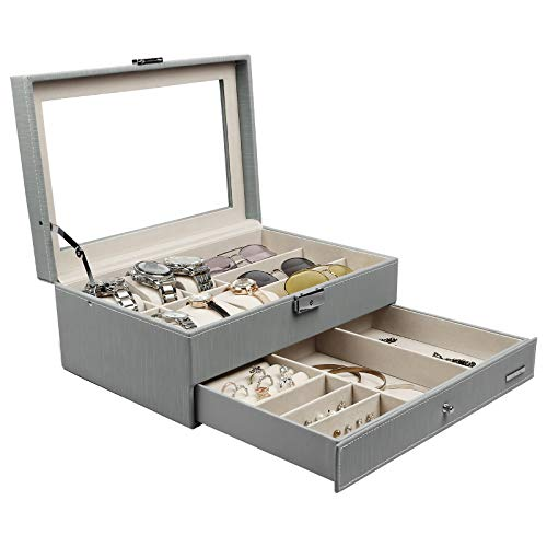 Fabric Box Jewelry - Homde 6 Slots Watch Box Glasses Holder Jewelry Box Gift for Men Women (Gray (Drizzle-Like Grain))
