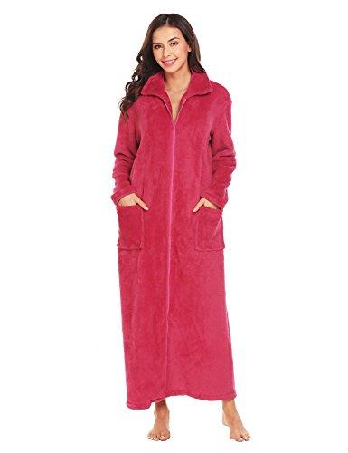 Aimado Plush Robe Womens Fleece Spa Bathrobe Turtleneck Warm Nightgowns  S-XXL 9a91770f7