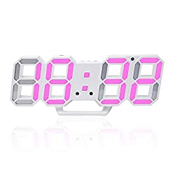 3D Digital Alarm Clock,Wall LED Number Time Clock with 3 Auto Adjust Brightness Levels,Led Electronic Clock with Snooze Function,Modern Night Light Clock Date,Temperature Display (Pink)