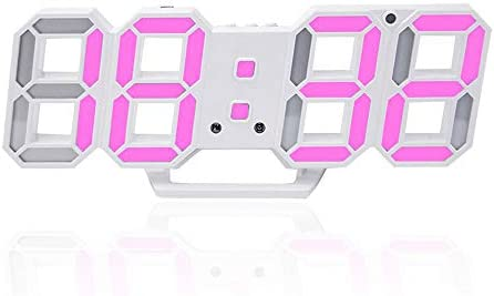 3D Digital Alarm Clock,Wall LED Number Time Clock with 3 Auto Adjust Brightness Levels,Led Electronic Clock with Snooze Function,Modern Night Light Clock Date,Temperature Display Pink