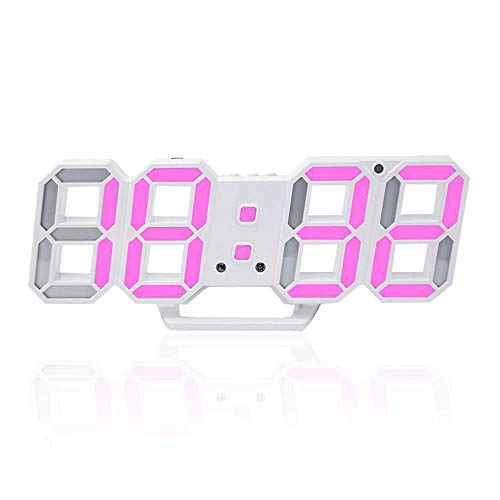 - 3D Digital Alarm Clock,Wall LED Number Time Clock with 3 Auto Adjust Brightness Levels,Led Electronic Clock with Snooze Function,Modern Night Light Clock Date,Temperature Display (Pink)