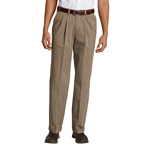 Eddie Bauer Men's Wrinkle-Free Relaxed Fit Pleated Performance Dress Khaki (Performance Dress Khaki Pants)