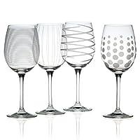 Mikasa Cheers - Vasos de vino blanco grabados con precisión, de 16 oz, (juego de 4)