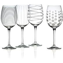 Mikasa Cheers Precision-Etched 16-oz White Wine Glasses, (Set of 4)