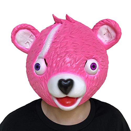 AutumnFall Halloween Costume Cuddle Team Leader Fortnite Bear Game Mask Party Face Adult Cosplay Props Toy (Pink)