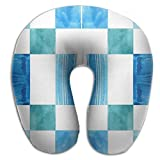 HGBAk Chin Supporting Travel Neck Pillow - Blue Windows Check Fabric (2465) Print,Neck and Chin in in Any Sitting Position
