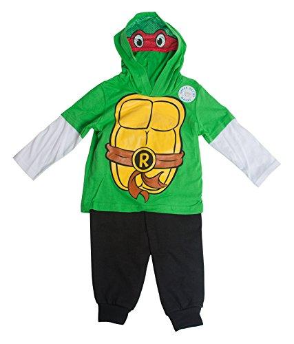 [Teenage Mutant Ninja Turtles Raphael Costume Masked Hooded Long-Sleeve Set - 2T] (Raphael Kids Costumes Hoodie)