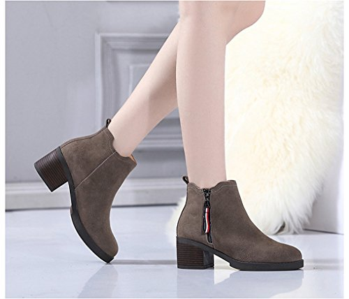 XZ Autumn and Winter Women's Shoes Thick Heel Short Boots England Nubuck Leather Gray LbkEot