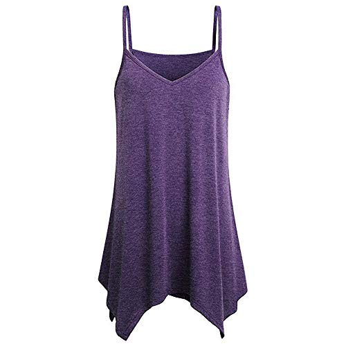 yiqianzhaobiao_T-shirt Tank Tops Vest Blouse Shirts for Women YQZB Loose Wrinkled O Neck Cami Purple ()