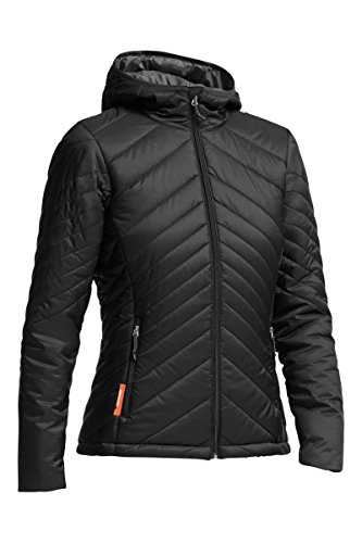 Icebreaker Merino Women's Stratus Zip Hooded Jacket, Merino Wool, Monsoon/Black, Large