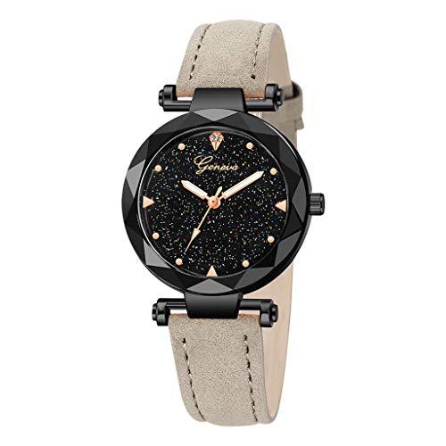 (LYN Star✨ Women's Watches Leather Rhinestone Inlaid Quartz Jelly Wristwatch Geneva Chronograph Watch with Crystals)