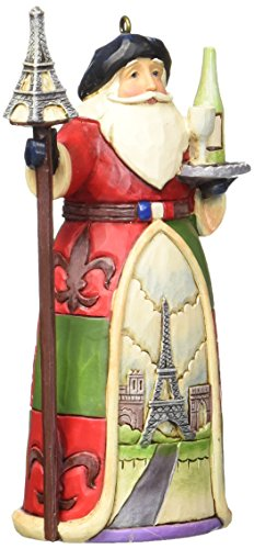 Jim Shore for Enesco Heartwood Creek French Santa Ornament, 4.25-Inch