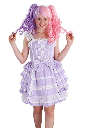 Nuoqi Court Lolita Dress Purple&white Lace Cosplay Princess Dress S Size CC220B-S (Lolita Pleated Cotton Skirt)