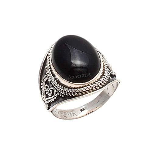 Sterling Silver 925 Black Onyx jewelry Genuine Onyx Gemstone Simple Minimalist Modern Ring Black Onyx Round Ring Black Stone Ring