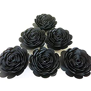"Black Paper Roses, Set of 6 3"" Flowers, Retirement Decorations, 50th Birthday Party Decor, Halloween Table Centerpiece Scatter, Wedding, Always In Blossom 90"