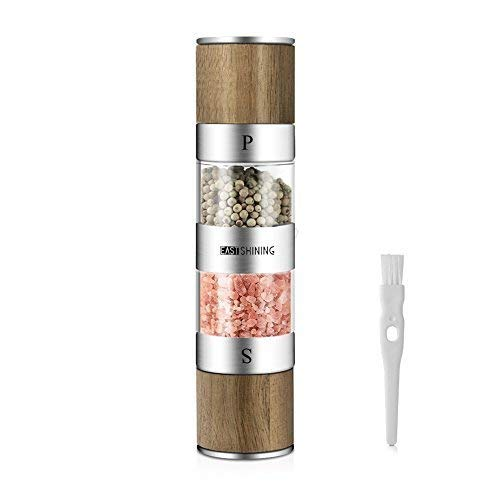 (2 in 1 Salt and Pepper Grinder Set,Stainless Steel Salt Grinder with Adjustable Ceramic Rotor,Wooden Salt Mill and Pepper Mill Shaker,Dual Mill Spice Jar with Brush -by Eastshining)