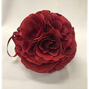 Ben Collection 10 Pack of Fabric Artificial Flowers Silk Rose Pomander Wedding Party Home Decoration Kissing Ball Trendy Color Simulation Flower (Burgundy, 20cm) 21