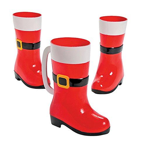 Santa Boot Mugs (Pack of 12) 10-oz. Plastic. Christmas (Plastic Boot Mug)