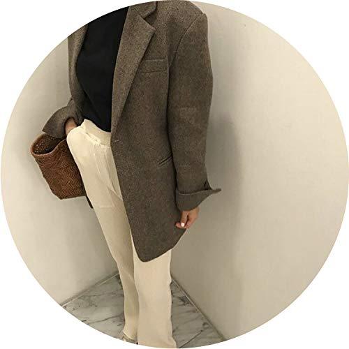 (Woolen Women Jacket Wild Korean Style Winter Casual Women Jacket Long Sleeve Women,Grey,S)