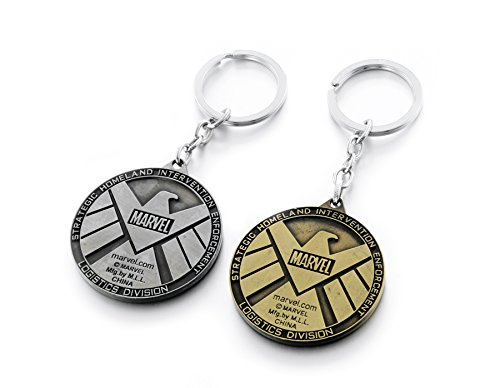 Pewter Pendant Keychain - REINDEAR Marvel Avengers Agents of SHIELD Logo Metal Pendant Keychain US Seller (Pewter & Copper)