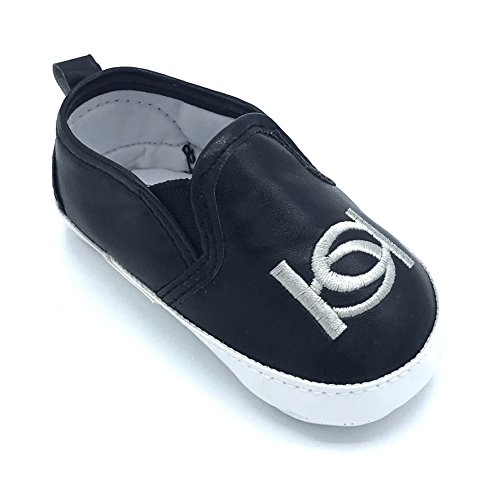 bebe Crib Shoe Slip-On Sneakers with Logo Embroidery, Black,0-3 mos