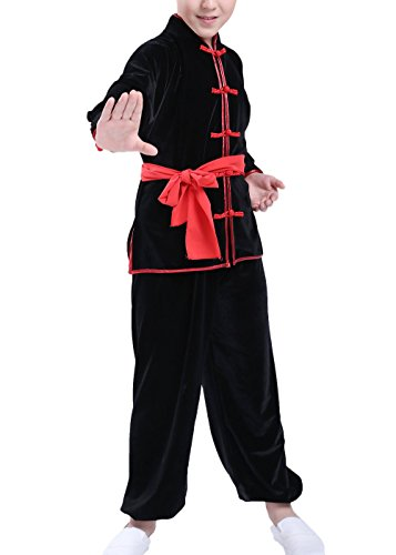 KIKIGOAL Unisex Children Kids Winter Chinese Traditional Wushu Martial Arts Uniform (110, black)
