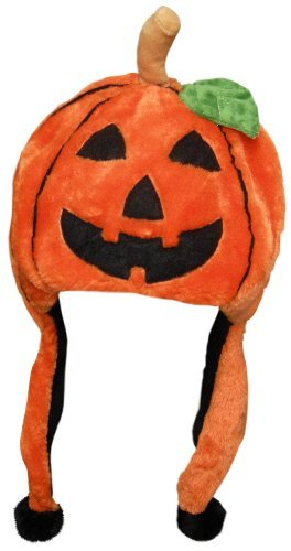 Halloween Pumpkin Dangle Hat with Pomsl