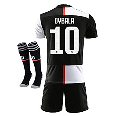 NTauthentic Juventus 10 Dybala Shirt Home Soccer Shirt for Kids/Youth with Socks & Shorts 19-20 Season Black/White