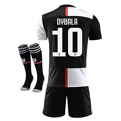 NTauthentic Juventus 10 Dybala Shirt Home Soccer Shirt for Kids/Youth with Socks & Shorts 19-20 Season Black/White