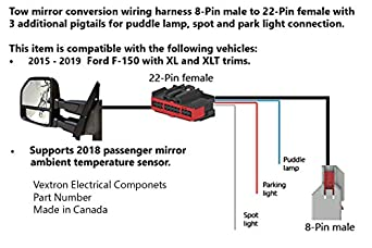 Amazon.com: Tow Mirrors Conversion Retrofit Wiring Harness Compatible With Ford  F-150 - 8 Pin to 22 Pin - for F150 Trucks 2015, 2016, 2017 - Adapter  Pigtail Cable Plug and Play ( 1 Pcs ): Industrial & Scientific | Ford F150 Power Mirror Wiring Diagram |  | Amazon.com