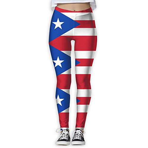 Puerto Rican Flag Clipart Elastic High Waist Yoga Leggings For Women