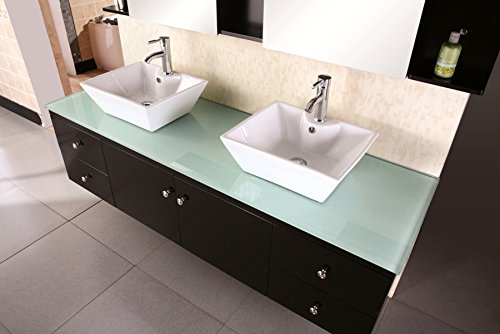 Buy white double sink vanity 72 inch with top wall mount