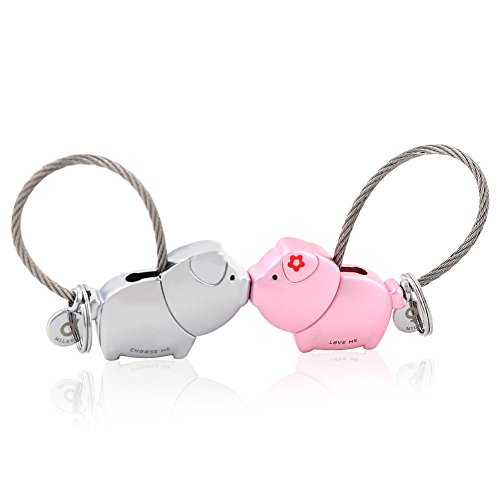 (MILESI Sweet Kiss Piggies Keychain with Magnetism one pair Valentine's Love Token (Silver Pink) )