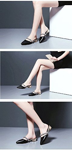 Flat Pointed Bottom Woman Shoes Sandals Slipper Fashion Leather Summer Baotou Shoes Crystal Half Black Slippers Cool ZCJB vxT6fz