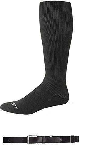 (Pro Feet Baseball / Soccer/ Softball Socks - 2 Pair Plus Youth BeltBig Kid's 9-11Black)
