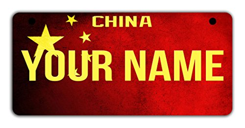 BleuReign(TM Personalized Custom Name Country China Flag Motorcycle Moped Golf Cart License Plate Auto Tag ()