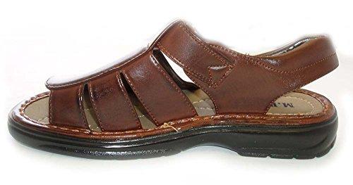 Nuovo Uomo Pescatore Comfort Open Toe Cross Cinghie Sandali Leggeri 98704 / Marrone