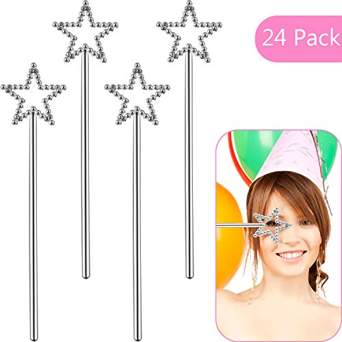 Skylety 24 Pieces Plastic Dress-up Wand Princess Wands for Girl's Princess Costume Role Play (Star Wand)