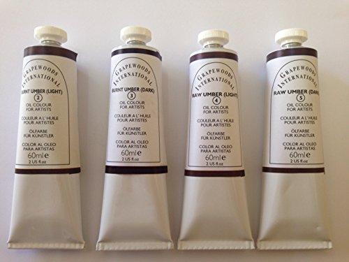 Umbers,extrafine oil paint (4 handmade oil color tubes 60ml each). Burnt umber light,Burnt umber dark,Raw umber light,Raw umber dark. (Raw Umber Light)