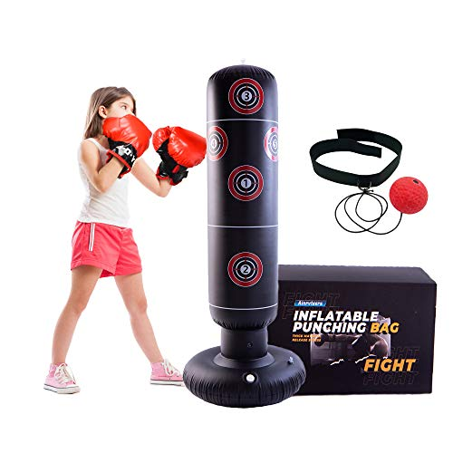 Ainrvteers 63″ Inflatable Kids Punching Bag, Standing Boxing Bag of Thick PVC Material, Great for Kids' Primary Boxing and Emotion Release
