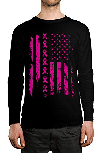 - SpiritForged Apparel Pink Ribbon American Flag Breast Cancer Men's Long Sleeve Shirt, Black XL