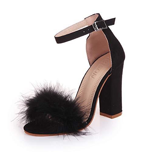 Femmes Taille Talons Hauts Black Chaussures Sandales Nouveau Boucle Hoesczs Peu Ouvert Grande À Profonde Bout Bouche Pour 7A44zwqxd