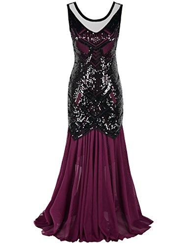 PrettyGuide Women Sequin Art Deco 1920s Flapper Long Cocktail Evening Dress XL Burgundy