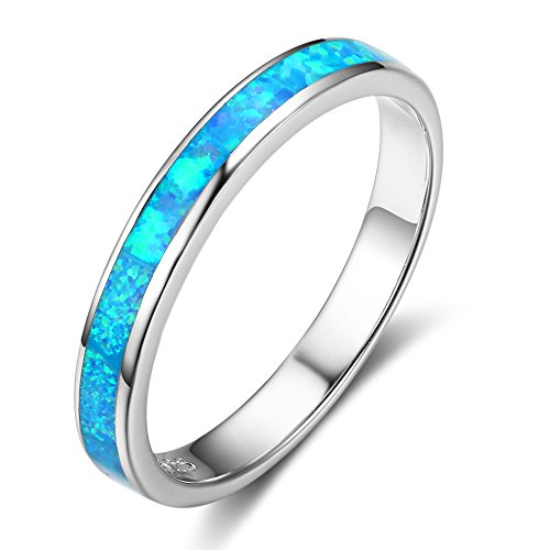 - ACEFEEL Blue Opal Eternity Stackable Band Ring 925 Sterling Silver Size 6