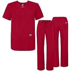 Adar Universal Medical Scrubs Set Medical Uniforms - Unisex Fit - 701 - RED -M