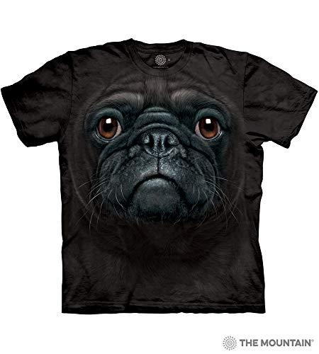 The Mountain Black Pug Face Adult T-Shirt, Black, Large