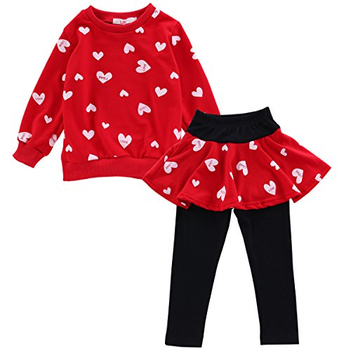 4 Girls Fitted T-shirt (LZH Kids Girls Winter Clothes Set Fox T-Shirt+Pant Outfit Girl Sport Suit Children Clothes , Red , 5T(For Age 4-5Y))