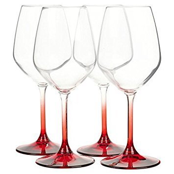 Bormioli Rocco Set Of 4 Coloured Stem Wine Glasses Dinner Gift Box Glassware – Made In Italy