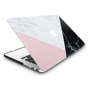 """KEC MacBook Pro 13"""" Retina Case (2015 Old gen.) Plastic Hard Shell Cover A1502 / A1425 (White Marble with Pink Black)"""