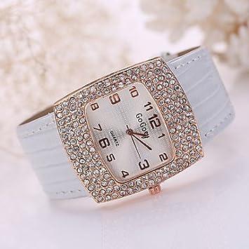 Funda de cristal grandes de la moda relojes mujer Oro Piel Banda Muñeca Vestido reloj de